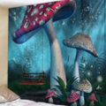 Selling: Fabric Wall Tapestry/Throw Toadstool Garden 71 x 91 Inches